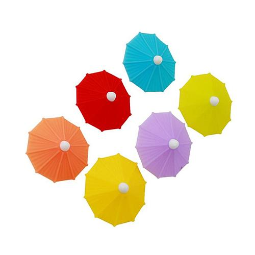 6pcs Silicone Party Umbrella Wine Glass Marker Charms Drinking Cup Identification Cup Identifier Label Tag Sign Mark Bar Sets