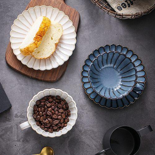 Ceramic Coffee Cup Saucer Set Japanese Home Kiln Turned Retro Teacup Milk Mug Chrysanthemum Plate Saucer Cafe Hand Made Coffee