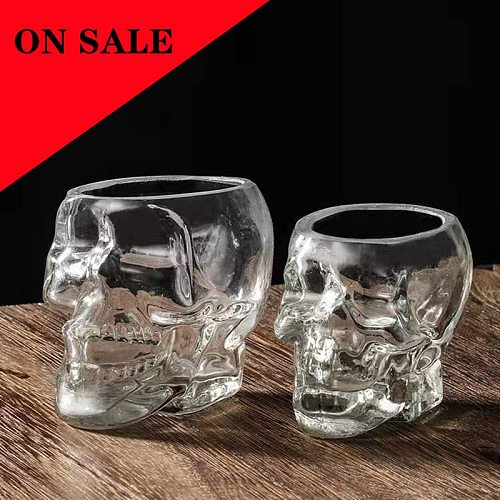 Household Skull Head Glass Teacup Heat Resistant High Temperature Explosion Proof Mug Drinking Bar Club Whiskey Wine Beer Cup