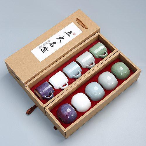 5pcs 50ml-100ml Master Cup Ceramic Drinkware Teaware Chinese KungFu Tea Set Teacup Sake Cups Small Tea Bowls Decor Gift Box