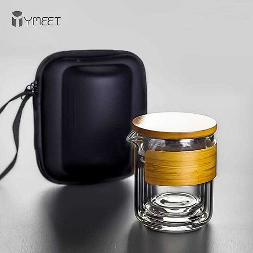 YMEEI Portable Glass Teaware Sets Travel Tea Water Bottle Drinking With Bag Outdoor Glass Tea Water Cup Tea Filter Strainer