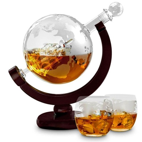 850ML Whiskey Decanter Globe Set with 2 Etched Globe Whisky Glasses for Liquor Bourbon Vodka Wine Glass Decanters Drop Shipping