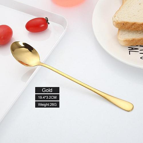Creative Stainless Steel Stirring Spoon Titanium Plated Rose Gold Spoon Cup Mug Long  Handle  Coffee  Spoon  Pointed  Spoon