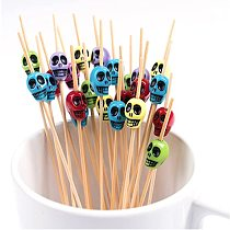 50PCS Disposable Skull Bamboo Fork Party Buffet Home Decor Fruit Desserts Food Cocktail Sandwich Fork Stick  Skewer 9 Styles