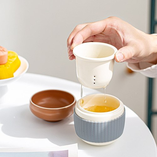 Japan Portable Tea Travel Tea Set Ceramic 1 Pot 1 Cups 1 Bag Kung Fu TeaSet Storage Bag Teaware Set Heat Insulation Container