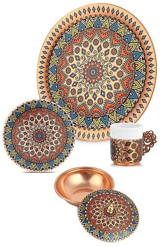 Decorative 6 Personality Tray Copper Coffee Set