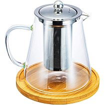 Glass Teapot with Stainless Steel Removable Infuser for Loose Leaf Tea, Bonus Tea Kettle & Infuser Coaster, 950Ml