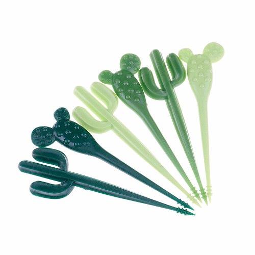 6pcs/pack Plastic Toothpick Green Cactus Fruit Forks Kids Tableware Fruit Fork Food Picks For Eat Fruits