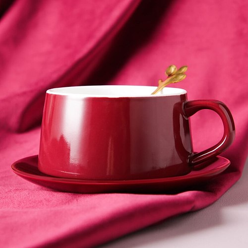 Ceramic Coffee Cup Saucer Spoon Sets European Style Mate Small Luxury Dish Sets Gooden Rim Colourful Kubek Drinkware EZ50DC