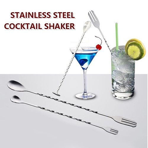 Quality Stainless Steel Cocktail Bar Spiral Pattern Drink Shaker Muddler Stirrer Twisted Mixing Spoon Kitchen tableware Bar tool