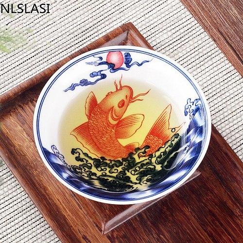 NLSLASICeramic tea cup Chinese style pattern teacups Tea set Master Tea Cup Hand drawn personality creative tea cup