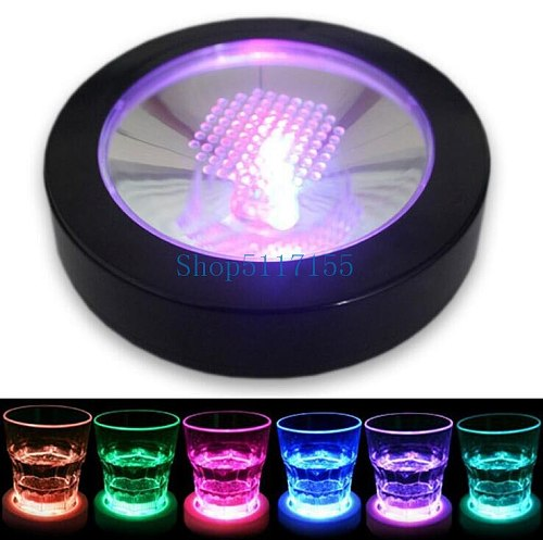 by dhl 100pcs RGB Color Changing LED Coaster Flashing Light Beer Wine Glass Drinking Bottle Cup Mat Coaster
