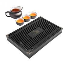 Wood tea tray Drainage water storage kung fu tea set Drawer tea room board table Chinese tea room ceremony tools