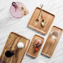 Japanese Style Wooden Tray Rectangular Household Wooden Fruit Tray Tray Cup Decoration Home Holder Cup Tea Tray Food T1H8