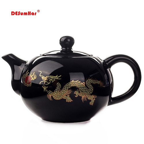 Black Ceramic Tea pot Chinese Dragon TeaPot handmade Teapot easy teapot kettle Ceramic Tea Set Kettle Kung Fu Teaware