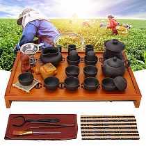 Yixing Purple Clay Kung Fu Tea Set Drinkware Tea Cup Tureen Infuser Chinese Tea Ceremony with Wood Tea Tray Home Teaware Sets