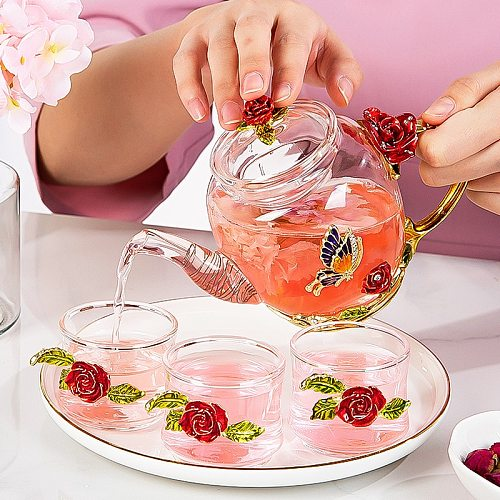 Red Rose Enamel Crystal Glass Tea Set Teapot Cup Set Flower Tea Glass Cups for Hot and Cold Drinks Home Office Teaware Sets Gift