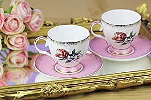 White & Beige Bone Pink 2-Piece Coffee Cup Set 100Ml