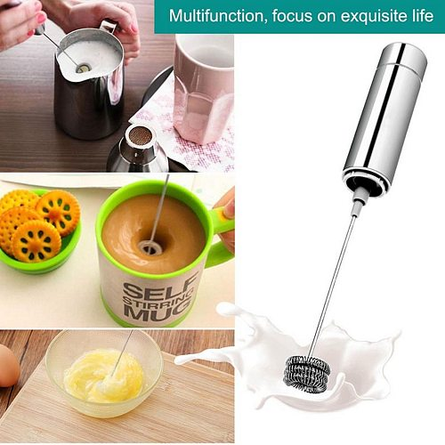 Electric Milk Frother Coffee Mesh Maker Double Creamer Pump Storage Cover Stainless Steel
