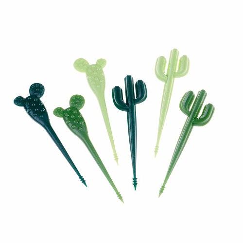 6pcs/pack Plastic Green Cactus Fruit Forks Toothpick Kids Tableware Fruit Fork Food Picks