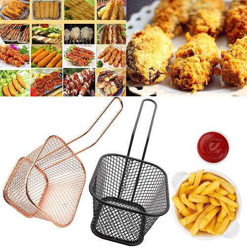 Electroplate Stainless Steel Mini Frying Basket Mesh Portable French Fries Baskets Strainer Net Qualified Cooking Kitchen Gadget