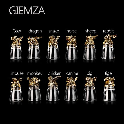 GIEMZA Zodiac Signs Cups Wine Glass for Liquor Chinese Traditions Collect Gift Box Luxury 12cups Animal Cup for Bar Ktv Party
