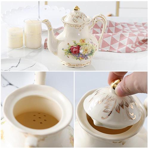 900 ml New Style Chinese Ceramic Teapot Set Lovely Porcelain Tea Pot for Wedding Gift