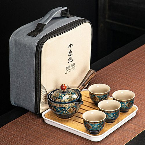 Portable Lazy Kung Fu Tea Set Tea Cup Teapot 360 ° Automatic Spinning Creative Tea Making Teaware kettles with Tray Travel Bag