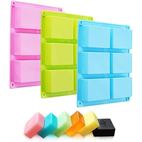 New Silicone Pudding Candy Mold 6 Cavity Square Silicone Mold Supplies Craft Soap Soap Mould Decorating Handmade Candle Mold