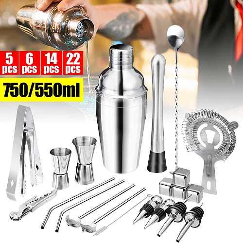 750/550ml 5-22pcs/set Stainless Steel Bar Cocktail Shaker Mixer Spoon Measure Cup Bartender Barware Tool Shaker Mixer Drink Set