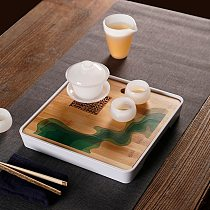 Bamboo Dry Bubble Tea Tray Chinese Kung Fu Tea Set Simple Tea Table for two,Japanese Water Storage Type Tea Trays