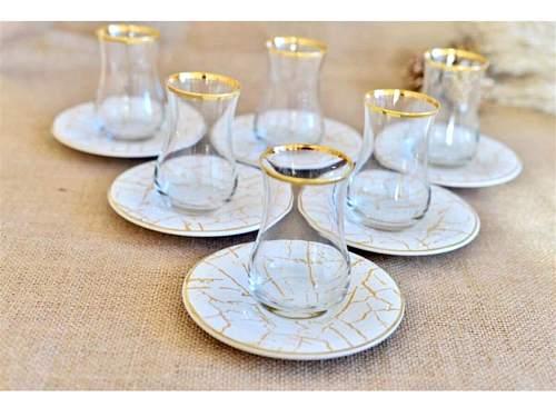 Patterned Tea Set Glass Drinkingware Teacup Ceramic Tea Set Teaware Tea Mugs 6 Pieces White Blue Flower Kitchen Home Decoration