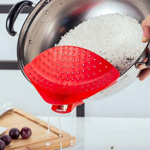 Kitchen Drain Pot Colander Strainer Silicone Pot Clip Kitchen Colander Pans Fliter Cooking Pots Drain Board Clamp Colanders Tool