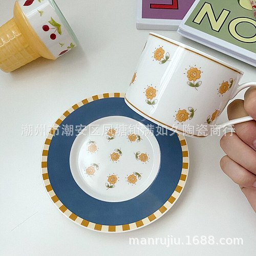 Ins wind retro daisy ceramic coffee cup and saucer set creative lovely girl heart afternoon tea dessert plate