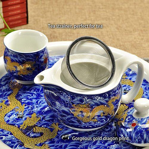 Chinese Ceramic Tea Set Kung Fu Porcelain Tea Cup Pot Set Dragon Teapot Teacup Kungfu Teaset Puer Oolong Tea Ceremony Teaware