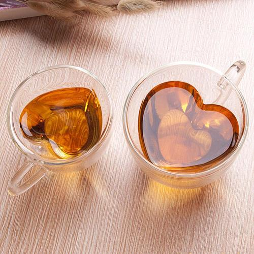 180/240ml Heart Shape Clear Glass Coffee Cup Whiskey Double Layer Mug Drinkware for Drinking Teacup of coffee Latte Espresso Cup