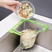1Pc Triangle Filter Holder Rack Kitchen Sink Strainer Sink Corner Filter Net Hanging Net With 50 Small Mesh Garbage Storage Bags