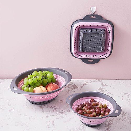 Kitchen Tools Collapsible Colander Strainer With Plastic Handles Foldable Storage Basket Colander Strainer Kitchen Accessories