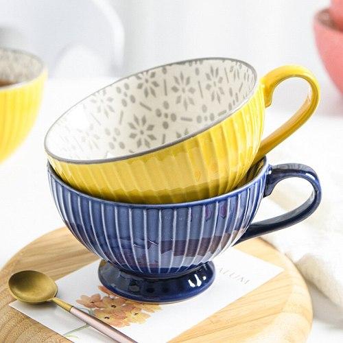 330ml 400ml Ceramic Teacup Water Cup  Mug Marge Capacity Soup Milk Coffee Wine Cup Cuisine Drinkware Home Breakfast Cereal Drink