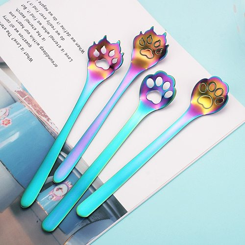 Stainless Steel Coffee Tea Spoon Tableware Cat Dog Claws Stirring Dessert Spoons Musical Guitar Notes Spoons Kitchen Accessories