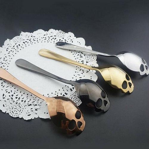 Novelty Fashion Stainless Steel Skull Coffee Drink Mixing Spoon Tableware Kitchen Teaspoon Creative Fashion Gift