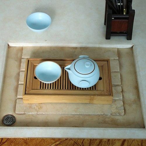 Bamboo Tea Tray Drainage Water Storage Kung Fu Tea Set Room Board Table Chinese Tea Cup Ceremony Tools Tea Set 1PC