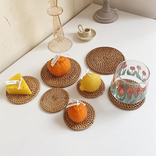 Handwoven Rattan Placemat Coaster Heat Insulation Saucer Tea Coffee Mug Cup Teapot Dish Pot Pad Bowl Tray Kitchen Table Accessor