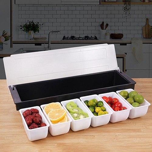 Kitchen 5 Compartment Seasoning Case Bar Condiment Box Holder Bar Drinks Fruit Garnish Cocktail Decorative Box Ktv Fruit Box