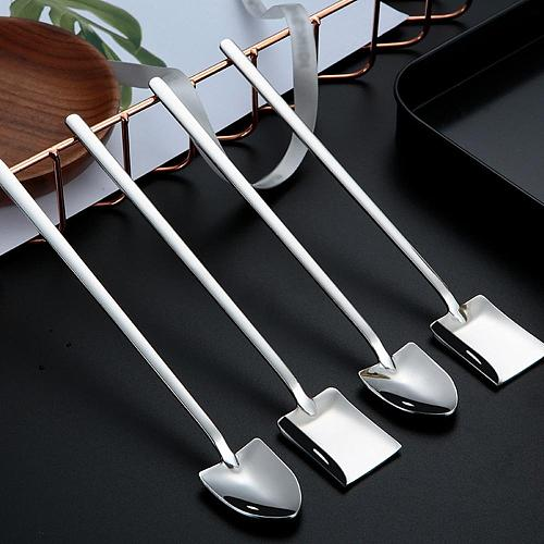 Coffee Tea Cake Spoon With Long Handle Stainless Steel Ice Cream Office Dessert Shovel Spoons golden Stirring Kitchen Tableware