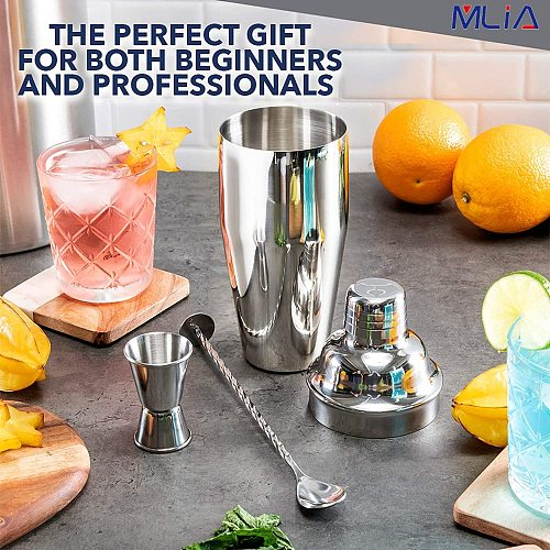 MLIA Stainless Steel Cocktail Shaker Mixer Wine Martini Boston Shaker for Bartender Drink Party Bar Tools 550ML/750ML