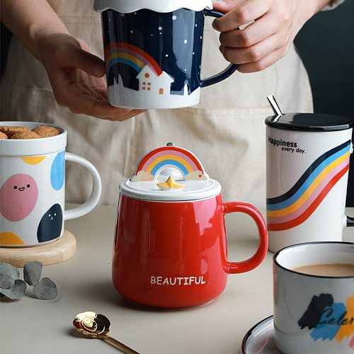 Rainbow Large Capacity Cafe Mug Creative Personality Ceramic Rainbow Teacup With Lid Spoon Couple Coffee Cup Office Drinkware