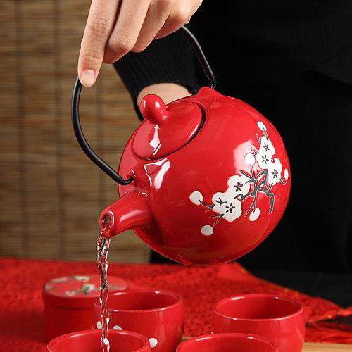 Japanese Plum Blossom Pattern Teapot Tea Pot Filter Red Teapot Handmade Teaware Tea Ceramics Tea Set with Screen Strainer