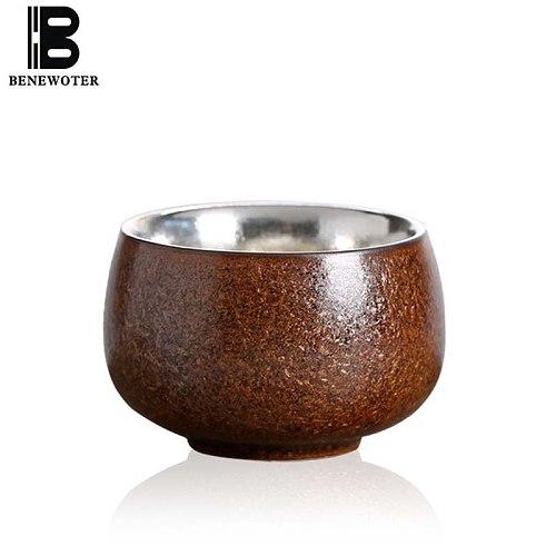 80ml Handmade Japanese Coarse Pottery Precious Metal Pure Silver Teacup Kung Fu Tea Set Puer Health Water Tea Cup Drinkware
