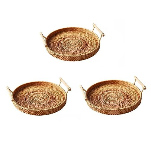 Household Rattan Tray Bread Fruit Snack Plate Portable Picnic Basket Desktop Woven Storage Basket Afternoon Tea Serving R9JC
